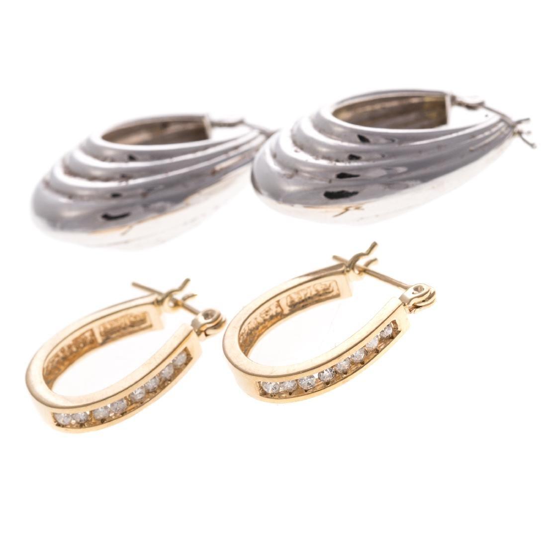Two Pairs of Lady's 14K Hoop Earrings - 2