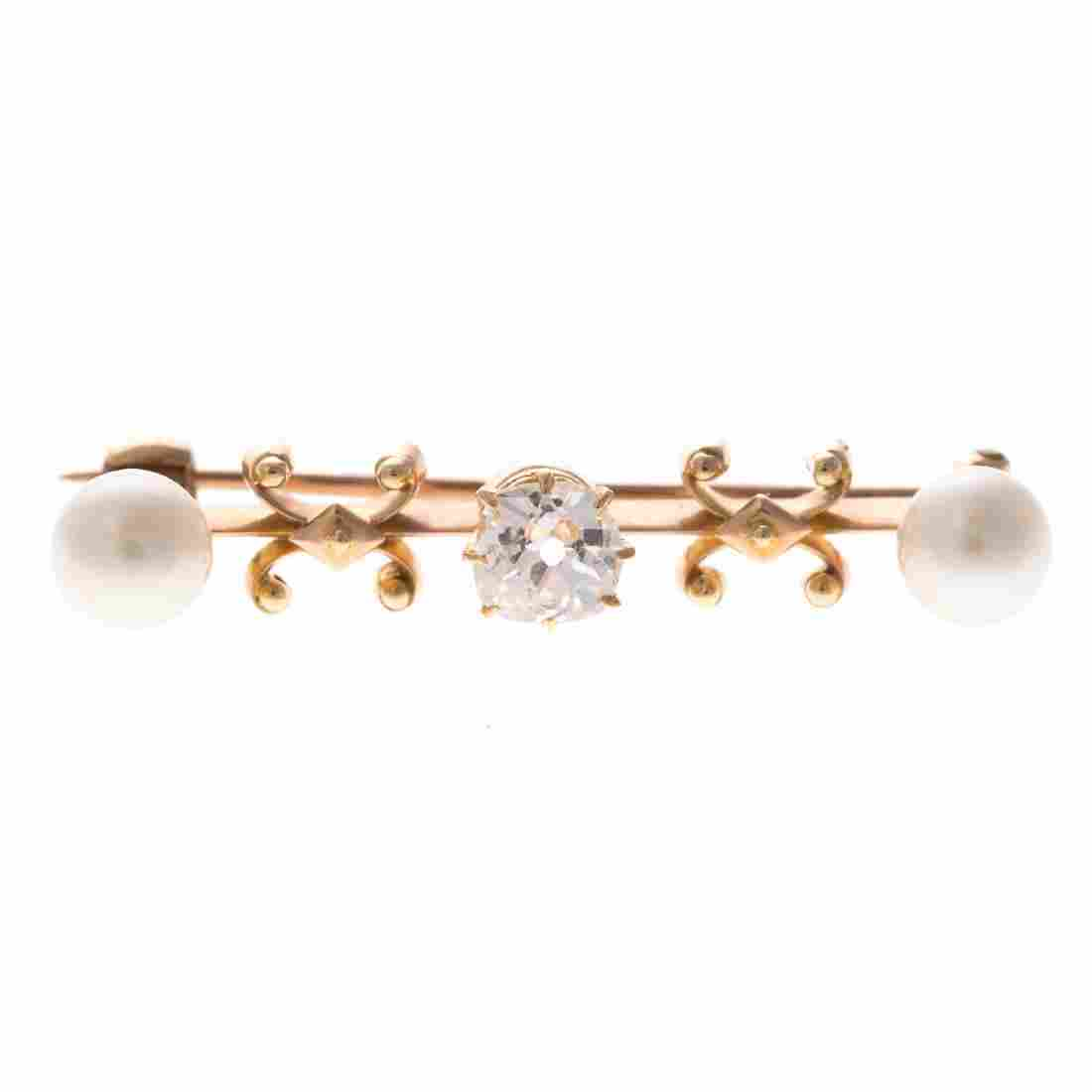 A Lady's Victorian Diamond & Pearl Bar Pin in 14K
