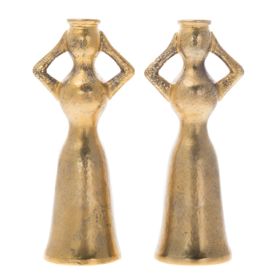 Pair gilt silver figural candlesticks by Lalaounis