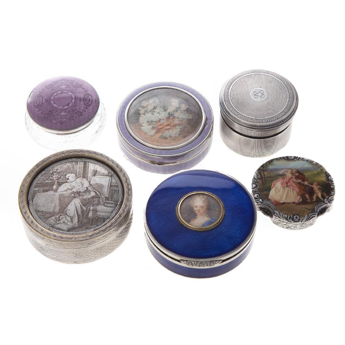 Trio of Victorian silver dresser boxes