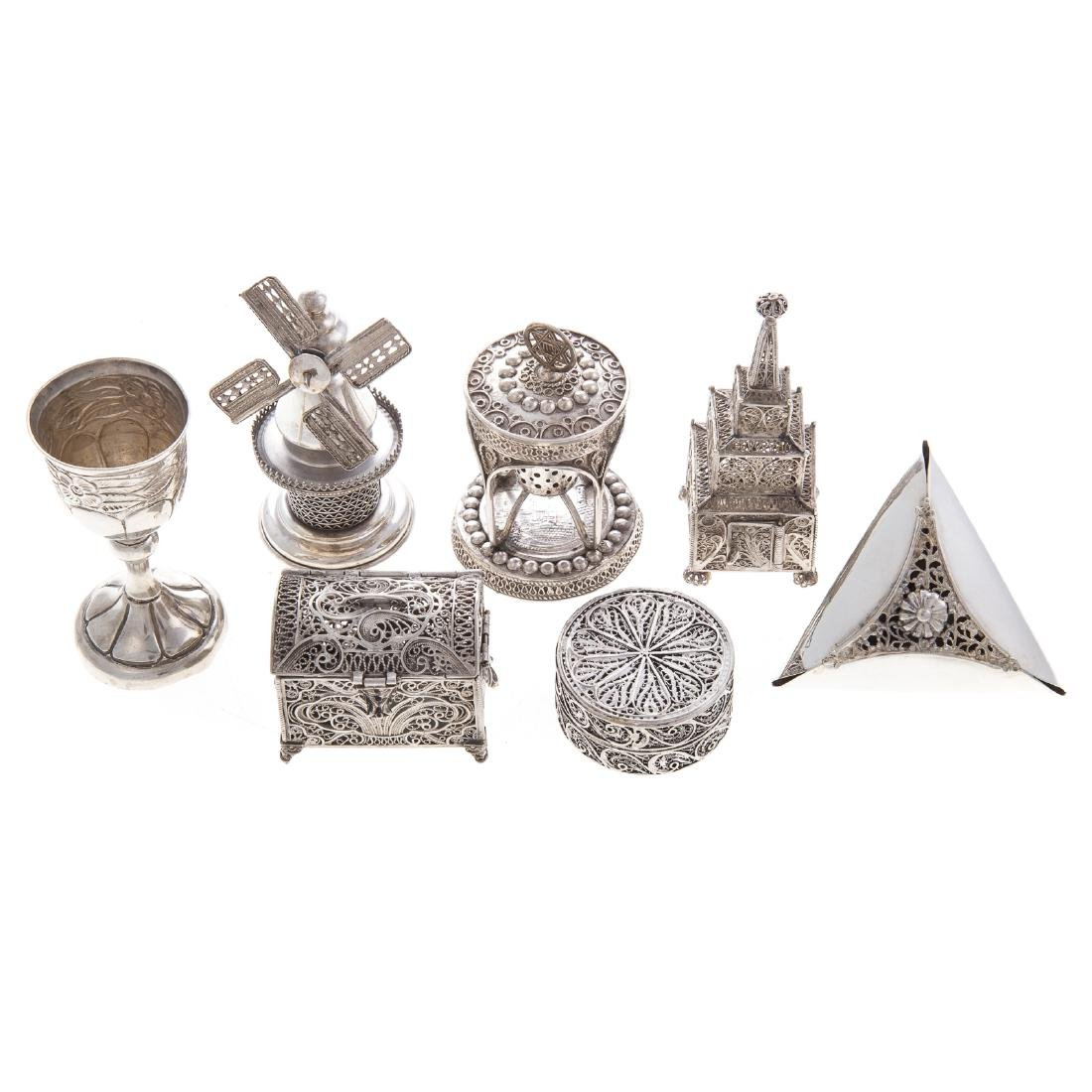 Collection Judaica sterling filigree ritual items