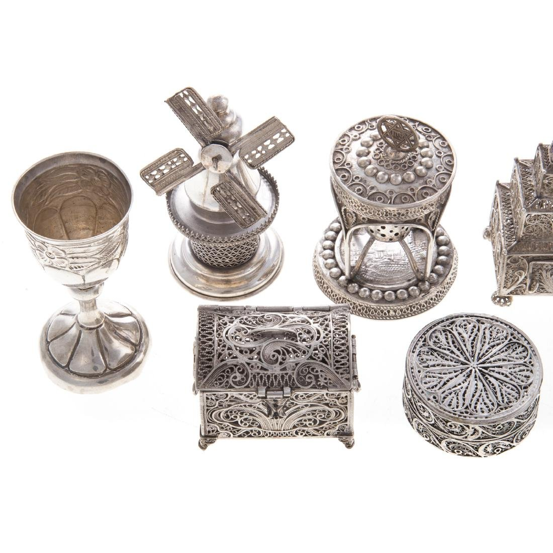 Collection Judaica sterling filigree ritual items - 2