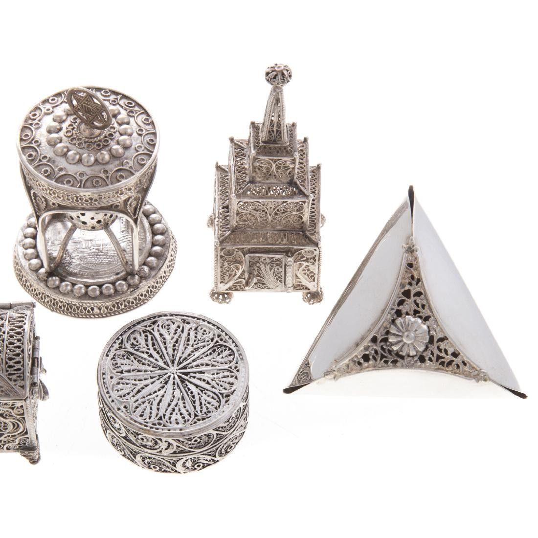 Collection Judaica sterling filigree ritual items - 3