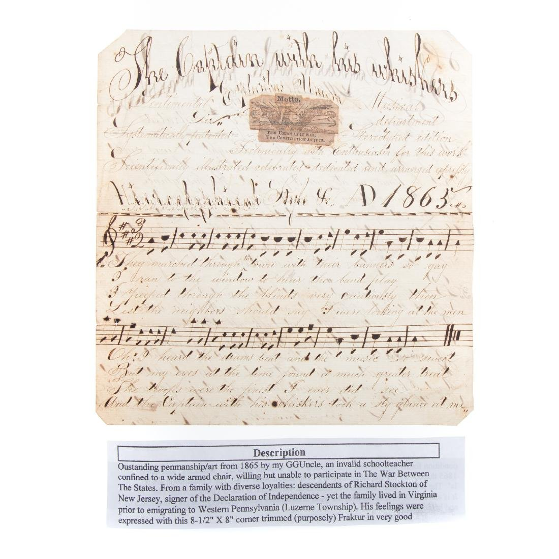Handwritten song sheet