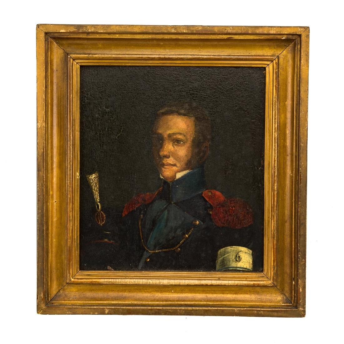 Framed oil on board of a military officer