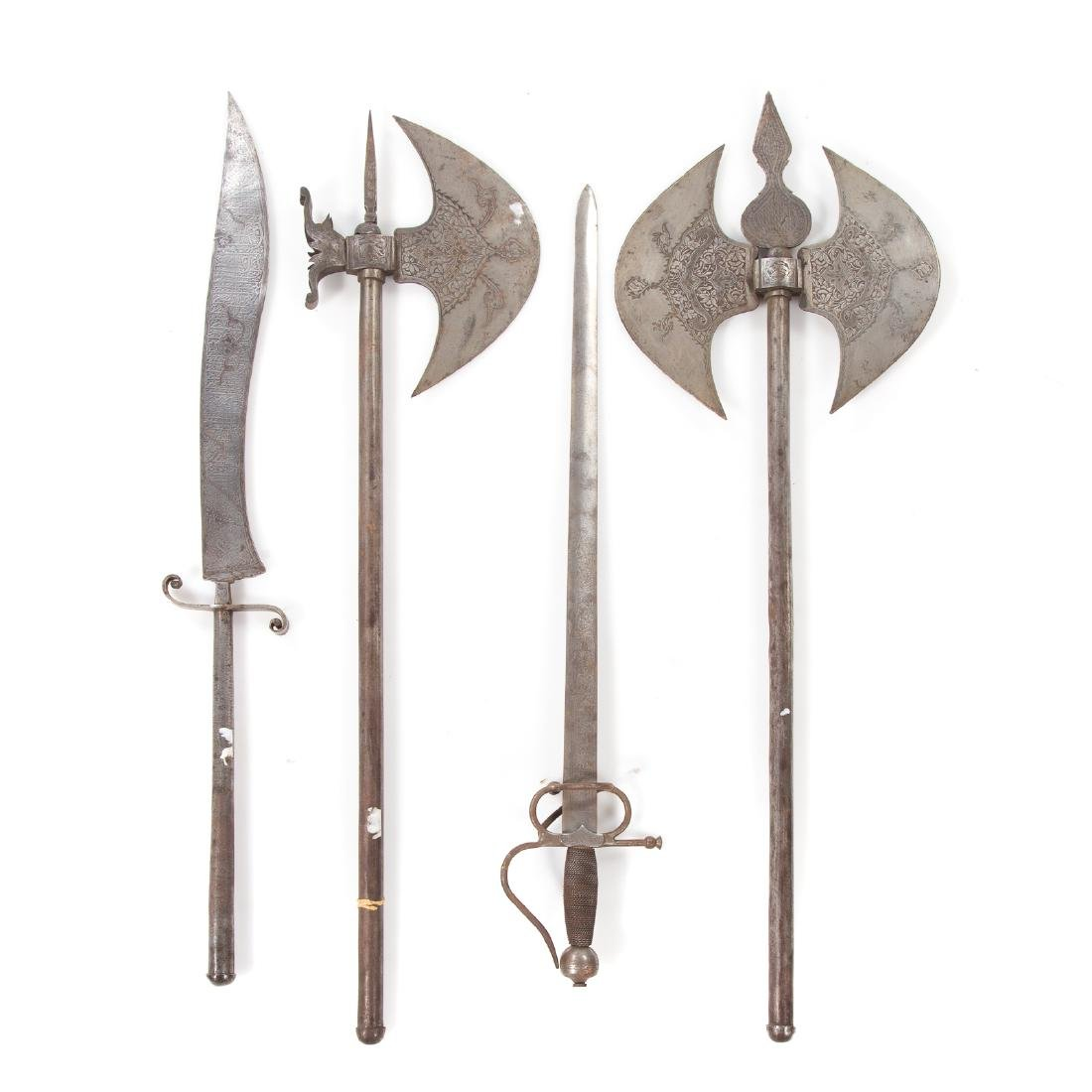 Four medieval and baroque style hand weapons
