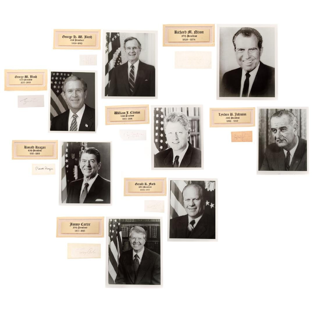 Eight former United States presidents signatures