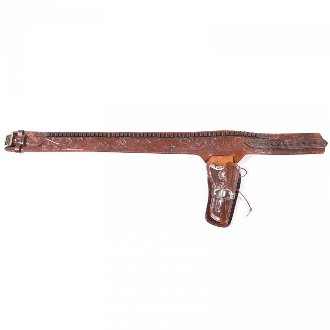 Cowboy tooled leather gun rig, single holster