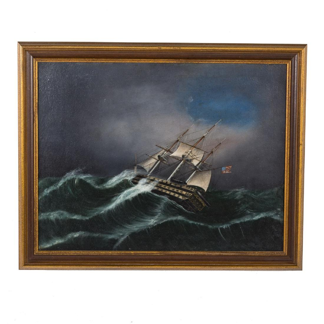 American School. Frigate in a Storm, oil on canvas