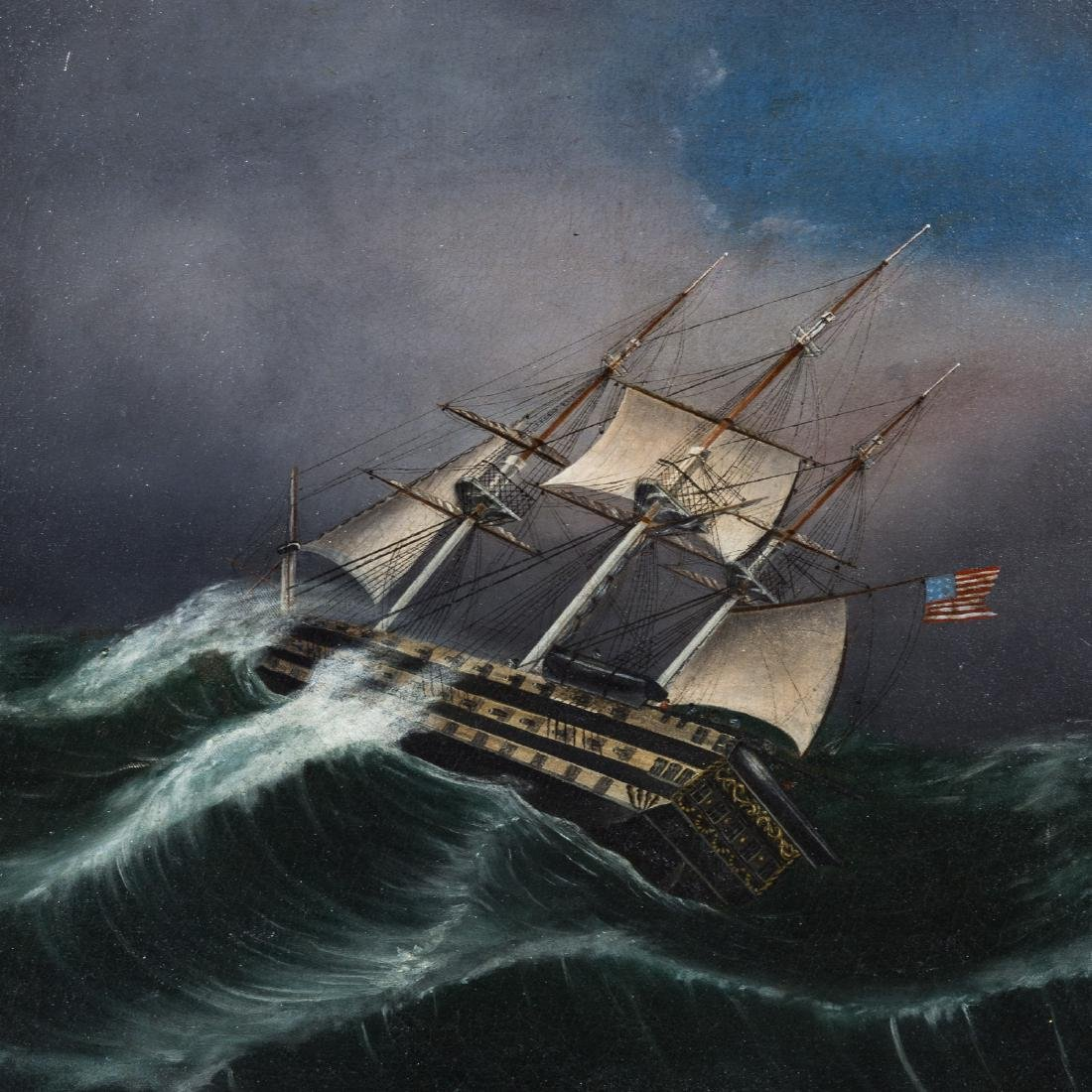American School. Frigate in a Storm, oil on canvas - 2