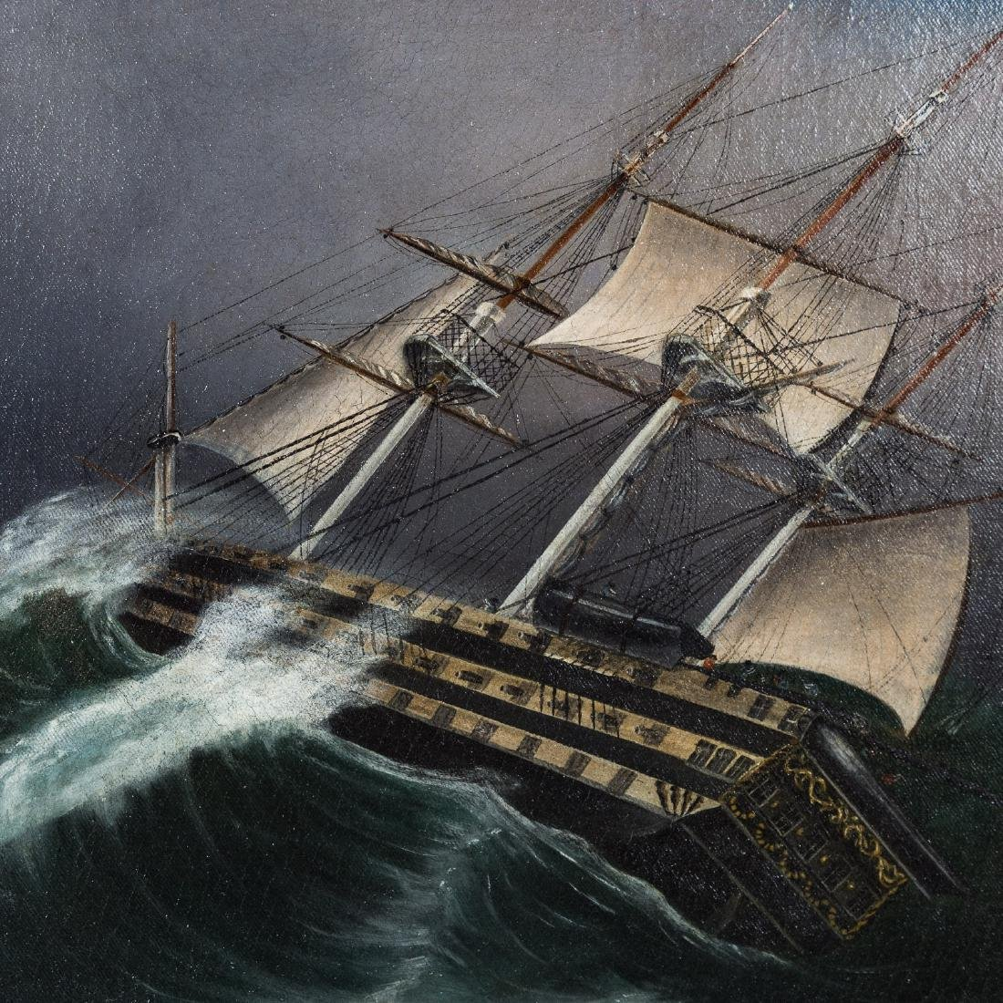 American School. Frigate in a Storm, oil on canvas - 3