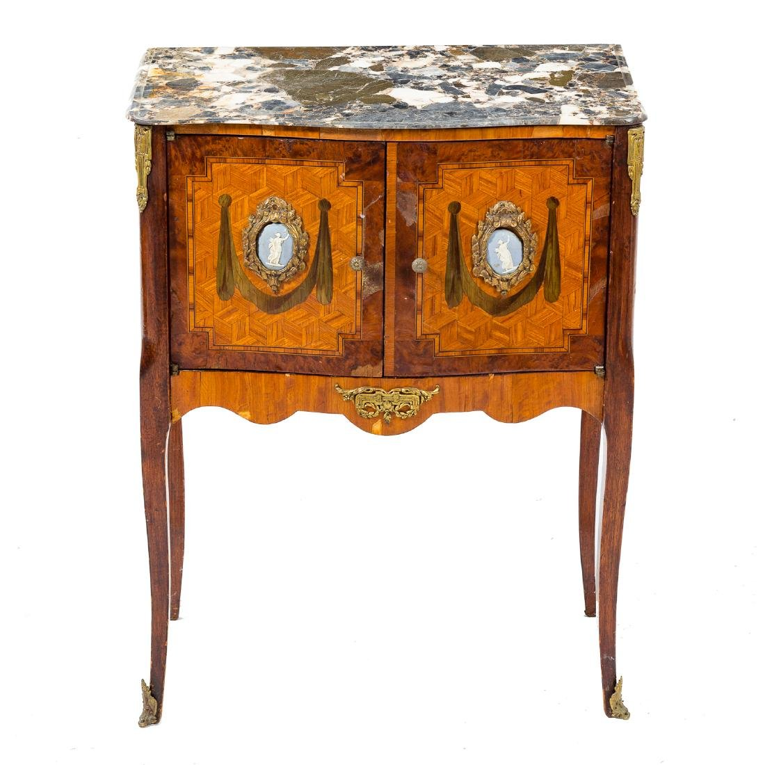 Louis XV style inlaid marble top commode