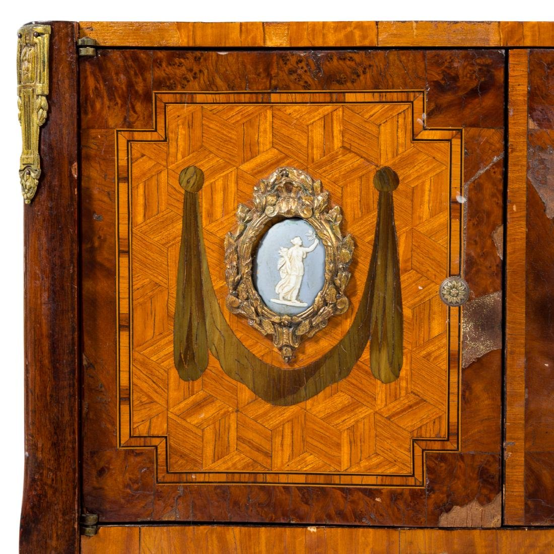 Louis XV style inlaid marble top commode - 2