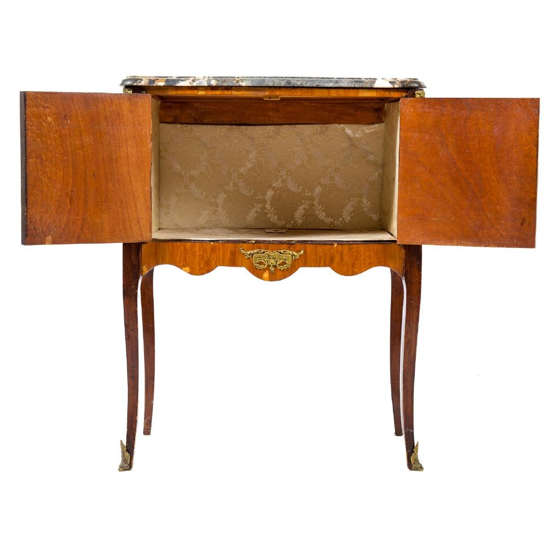Louis XV style inlaid marble top commode - 4