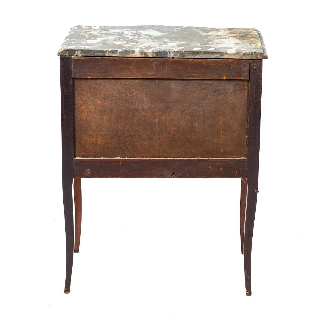 Louis XV style inlaid marble top commode - 5
