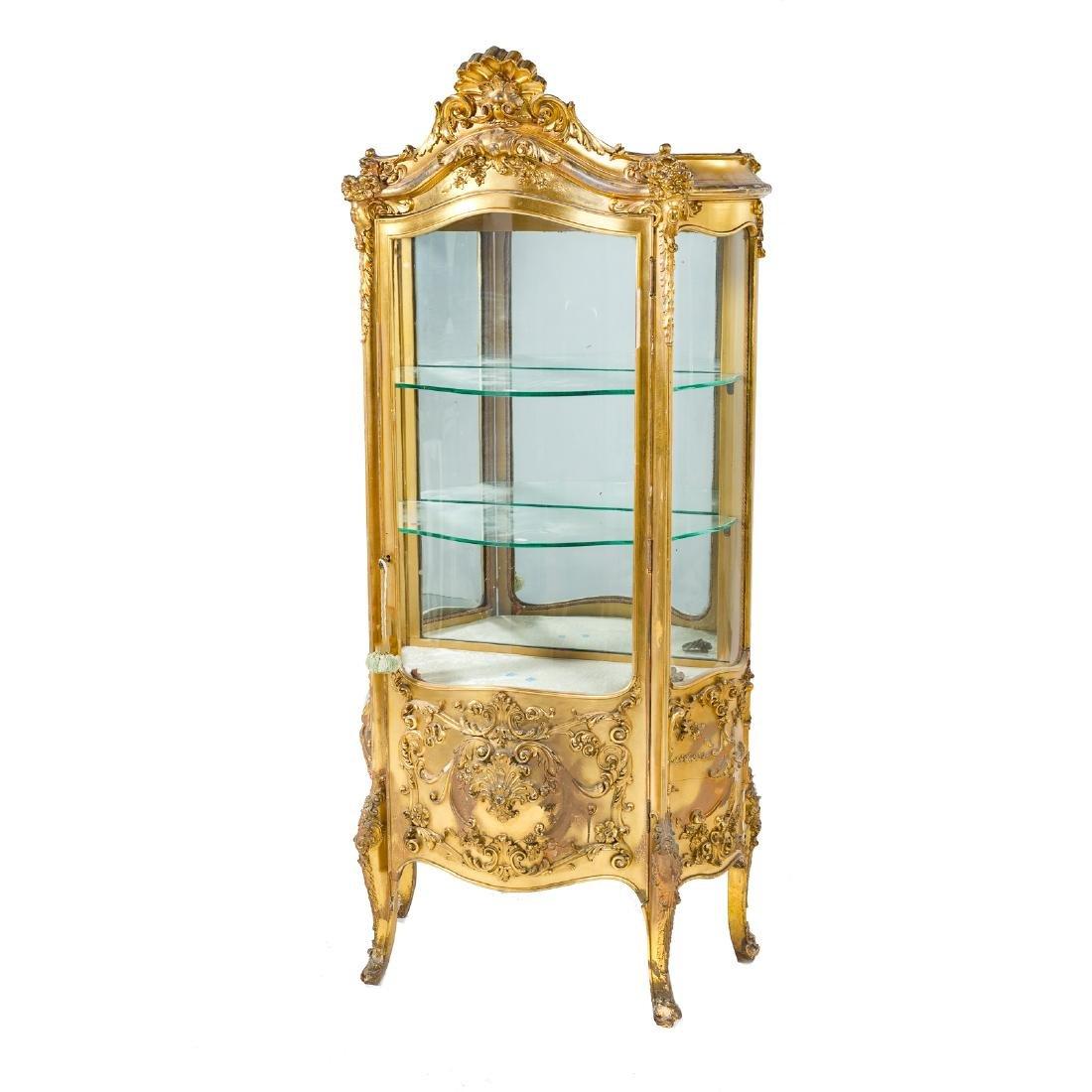 Louis XV style giltwood bombe vitrine