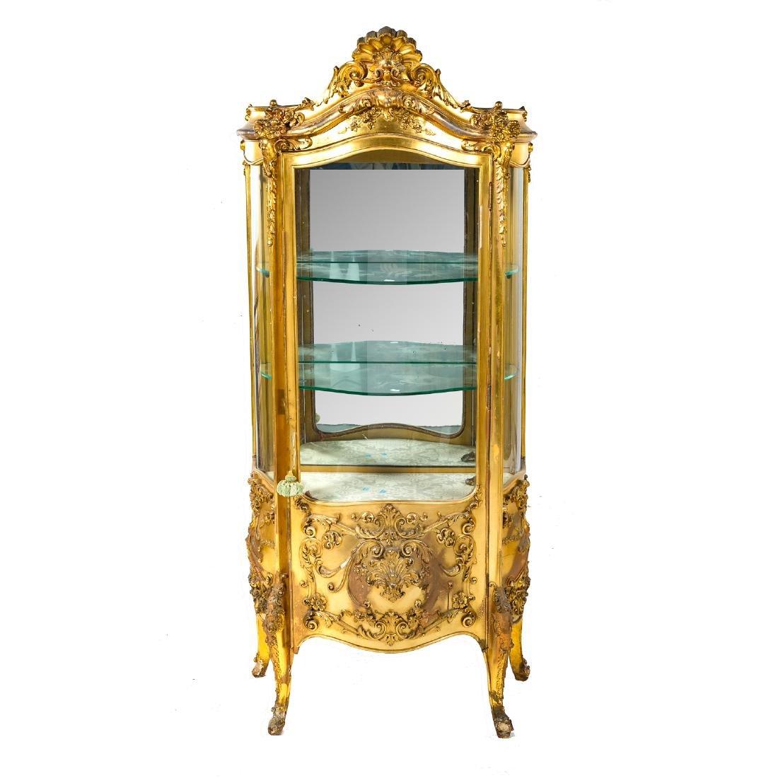 Louis XV style giltwood bombe vitrine - 2