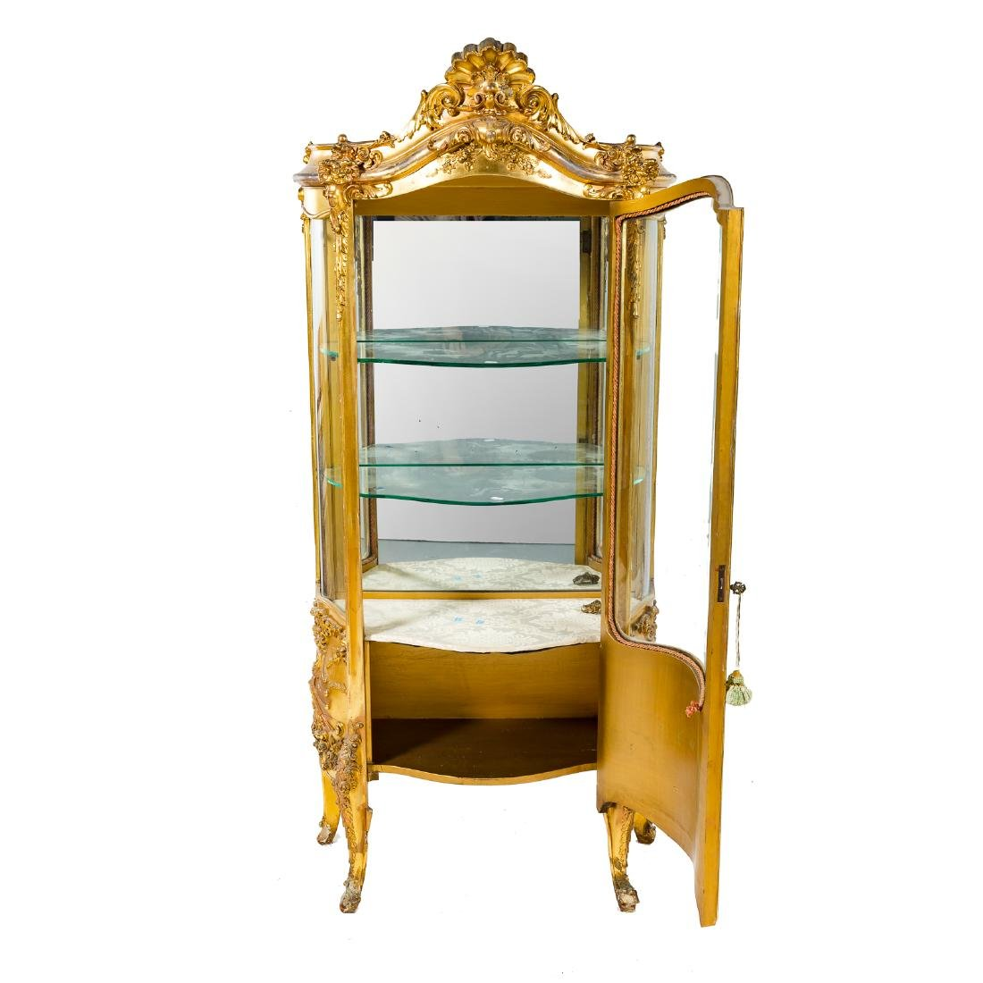 Louis XV style giltwood bombe vitrine - 4