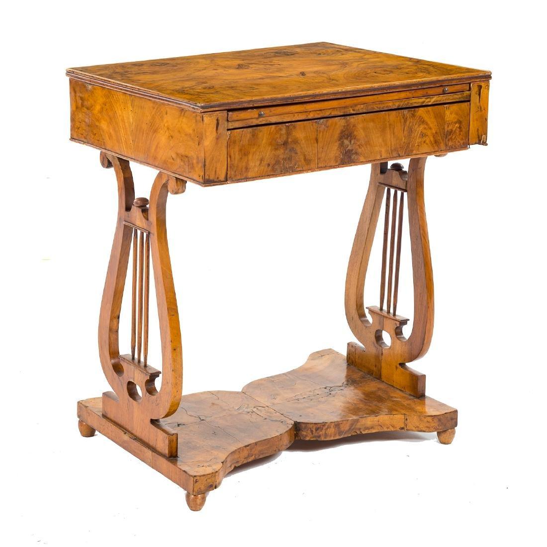 German Biedermeier burl walnut desk