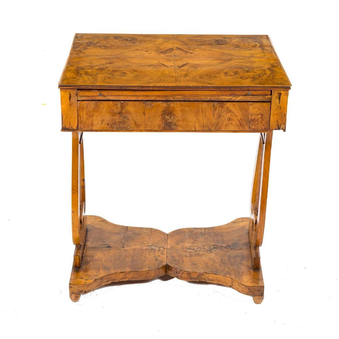 German Biedermeier burl walnut desk - 2
