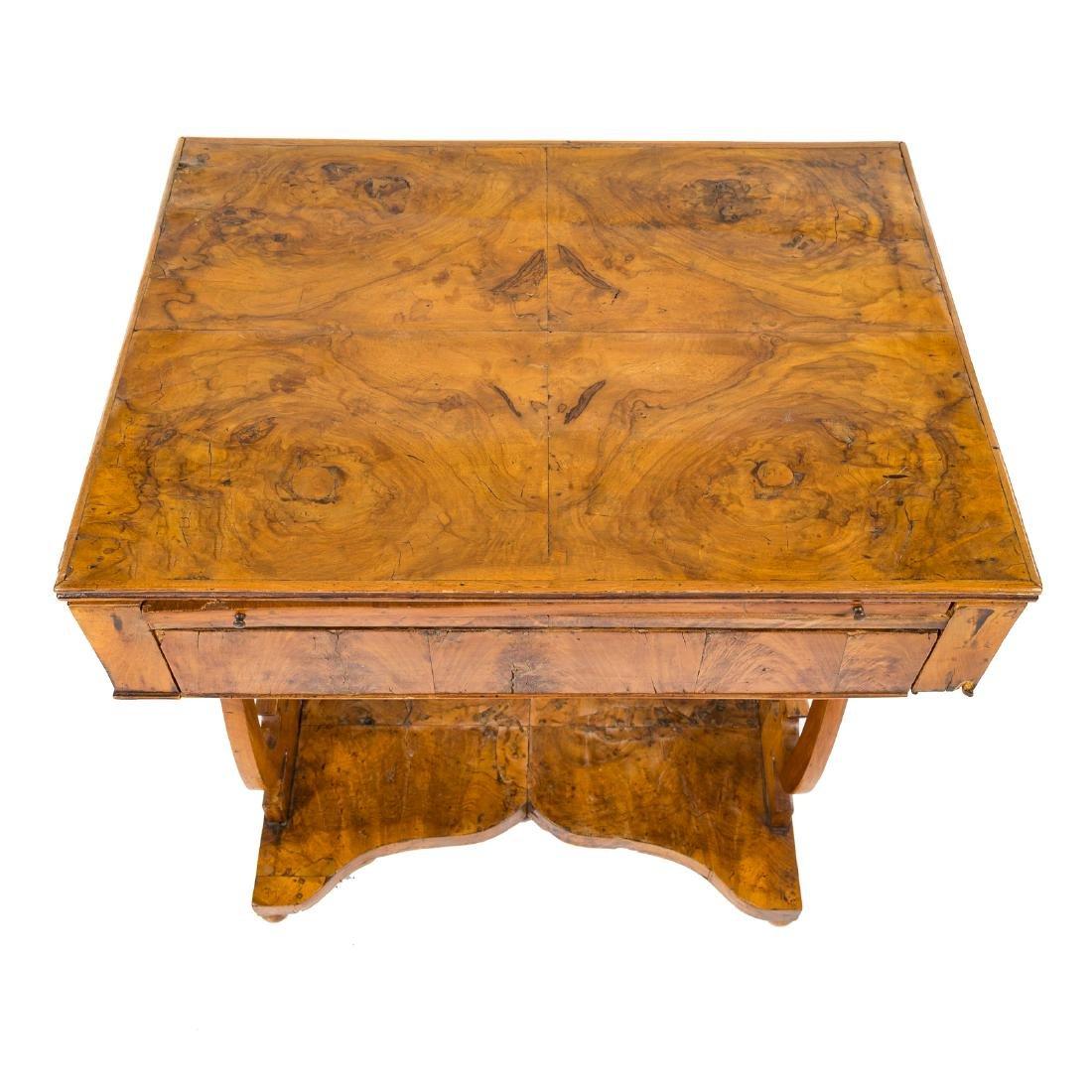 German Biedermeier burl walnut desk - 3