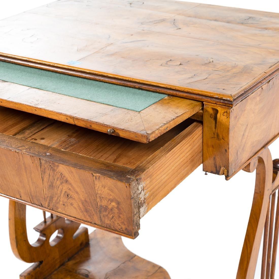 German Biedermeier burl walnut desk - 4