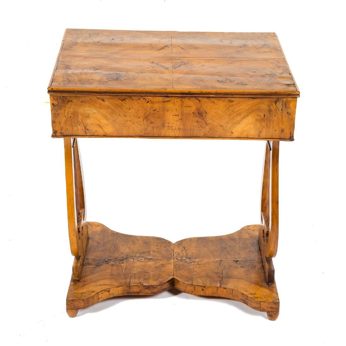 German Biedermeier burl walnut desk - 6