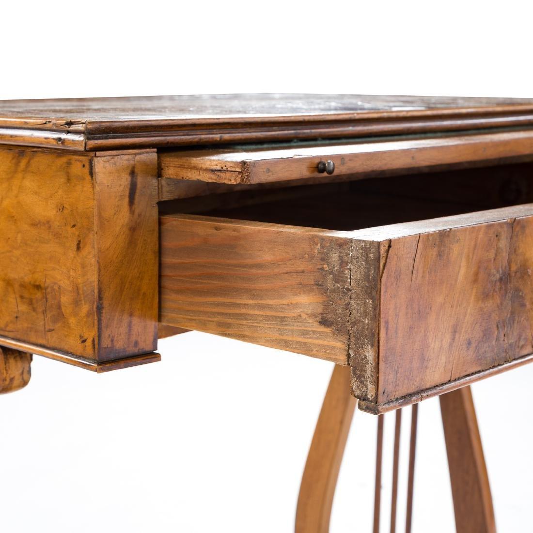 German Biedermeier burl walnut desk - 7