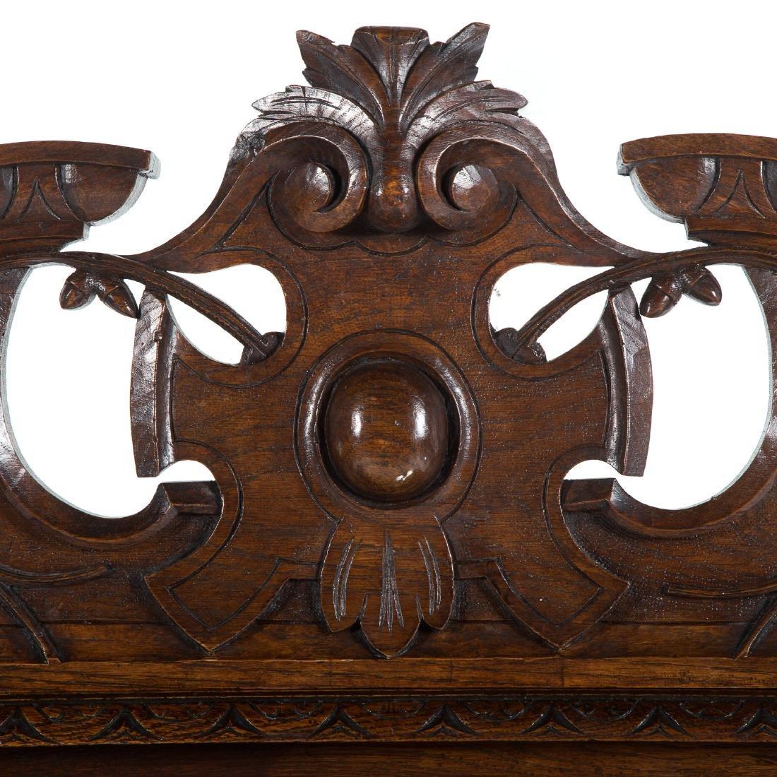 Elizabethan Revival carved oak hall bench - 2