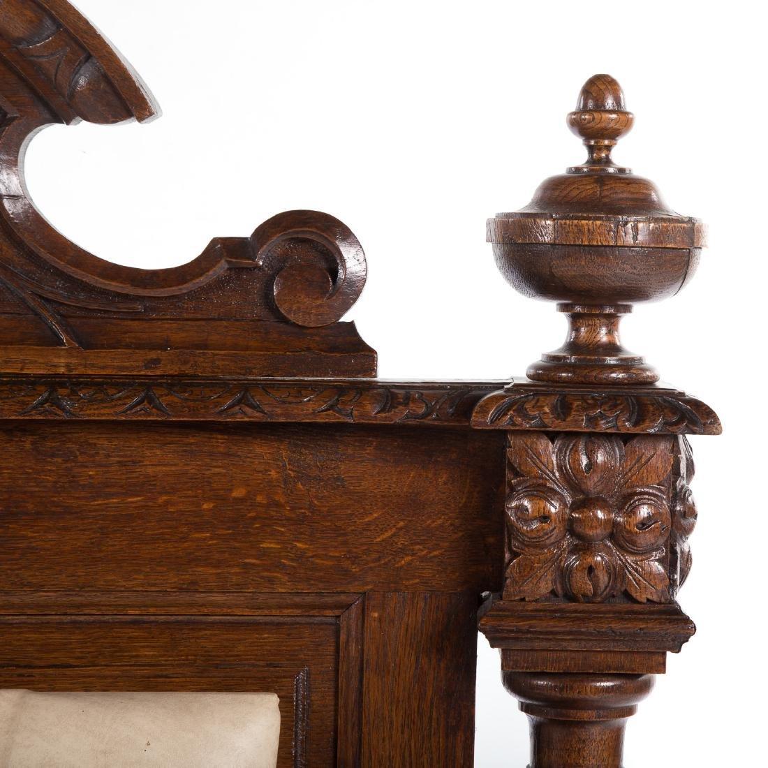 Elizabethan Revival carved oak hall bench - 3