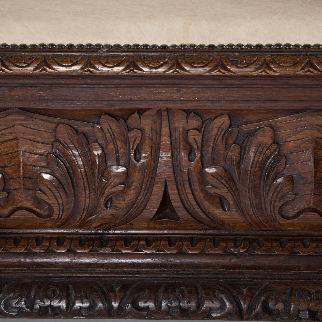 Elizabethan Revival carved oak hall bench - 6