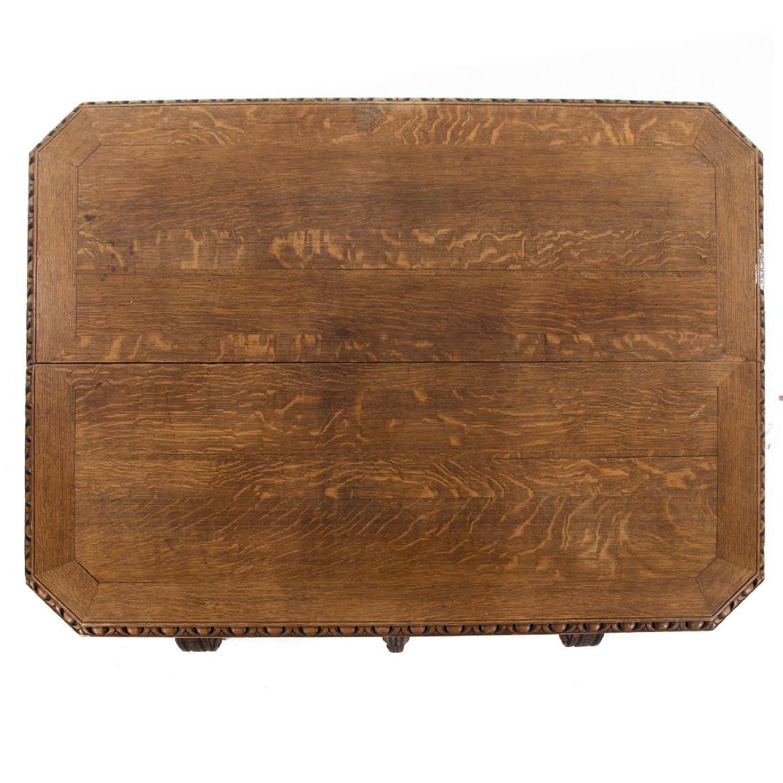 Elizabethan Revival carved oak library table - 3