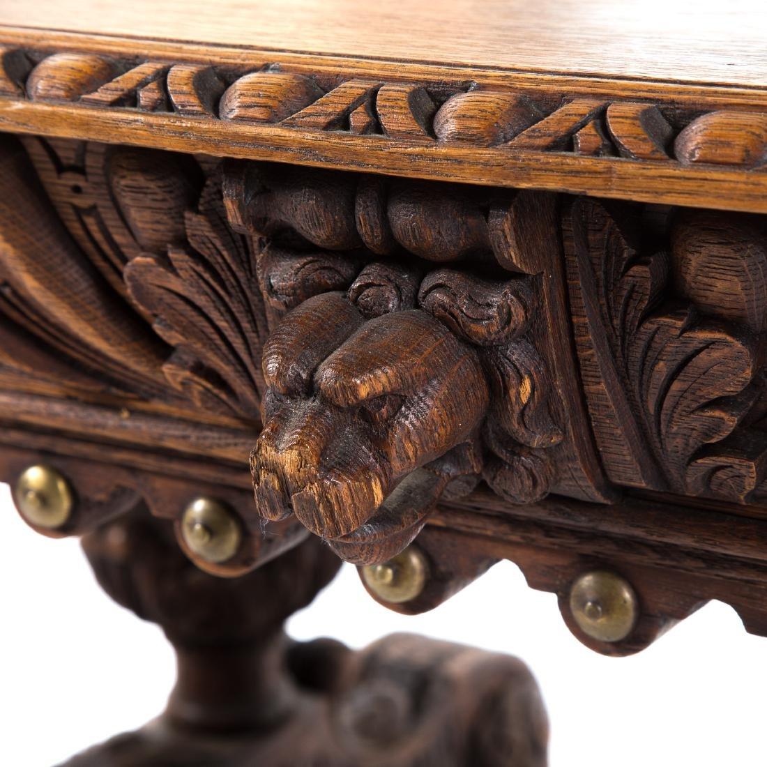 Elizabethan Revival carved oak library table - 4