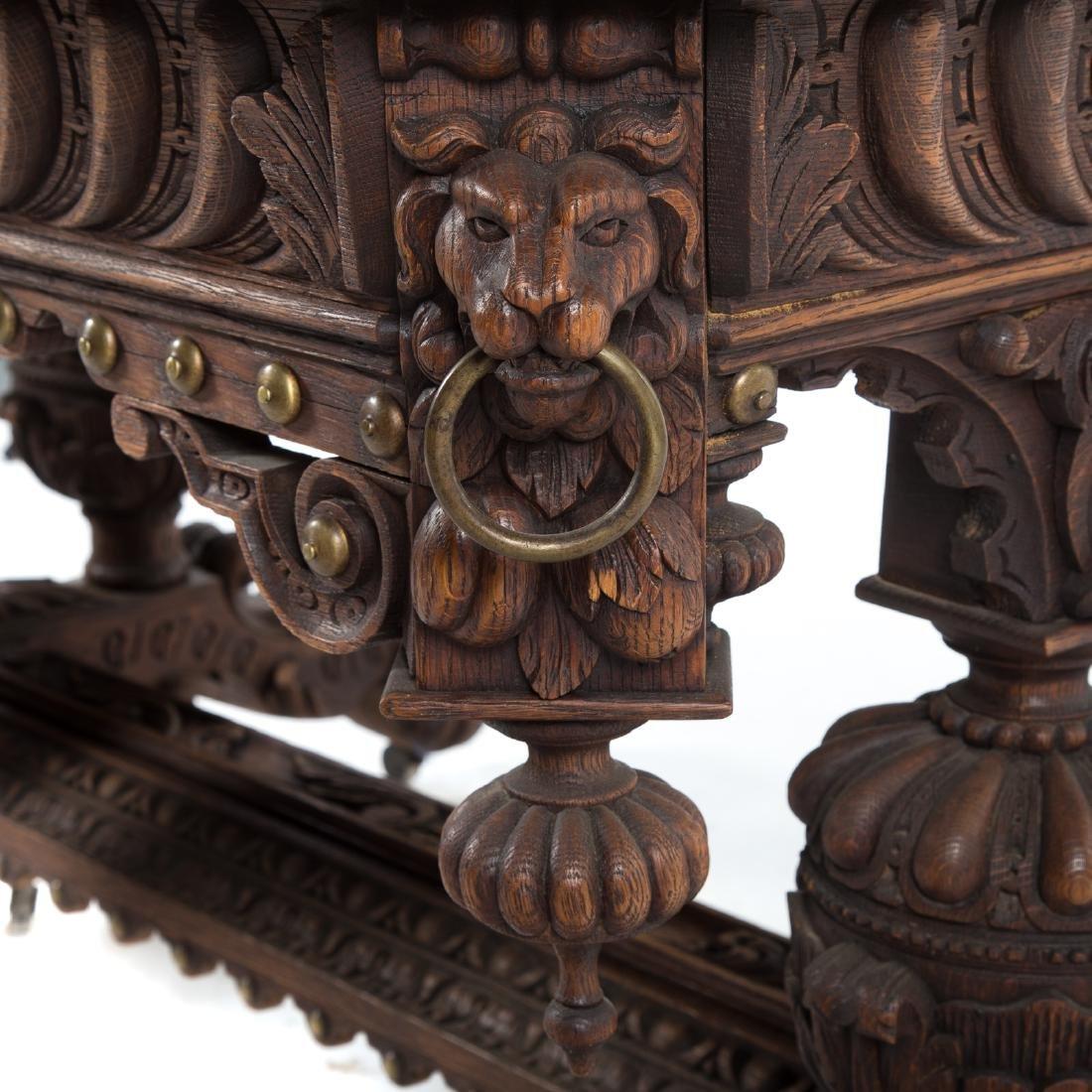 Elizabethan Revival carved oak library table - 5