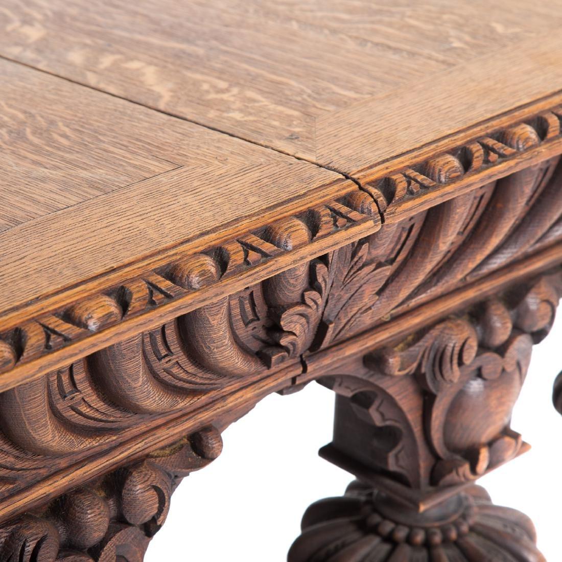 Elizabethan Revival carved oak library table - 6