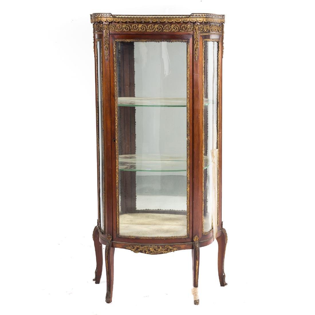 Louis XV style bronze mounted mahogany vitrine