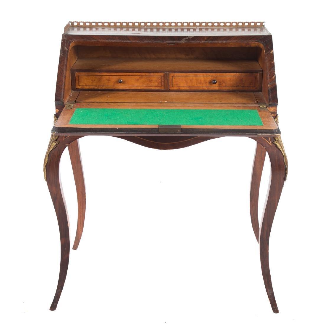 Louis XV style rosewood & parquetry pente bureau - 3