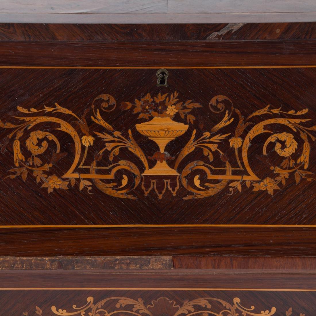 Louis XV style rosewood & parquetry pente bureau - 4