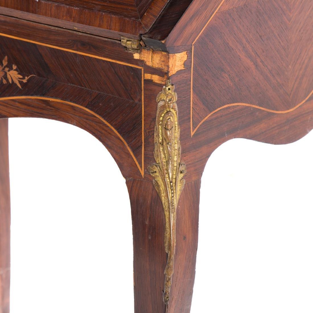 Louis XV style rosewood & parquetry pente bureau - 5