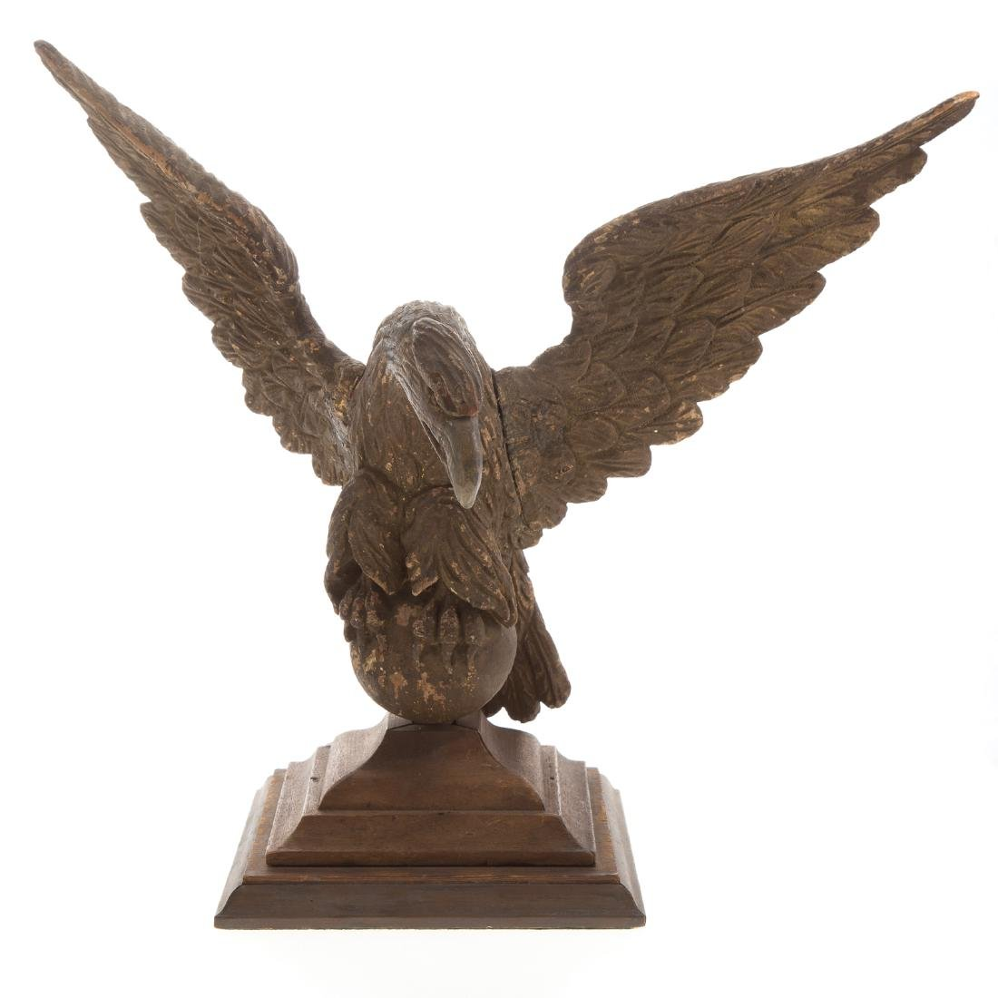 American carved and polychromed wood eagle