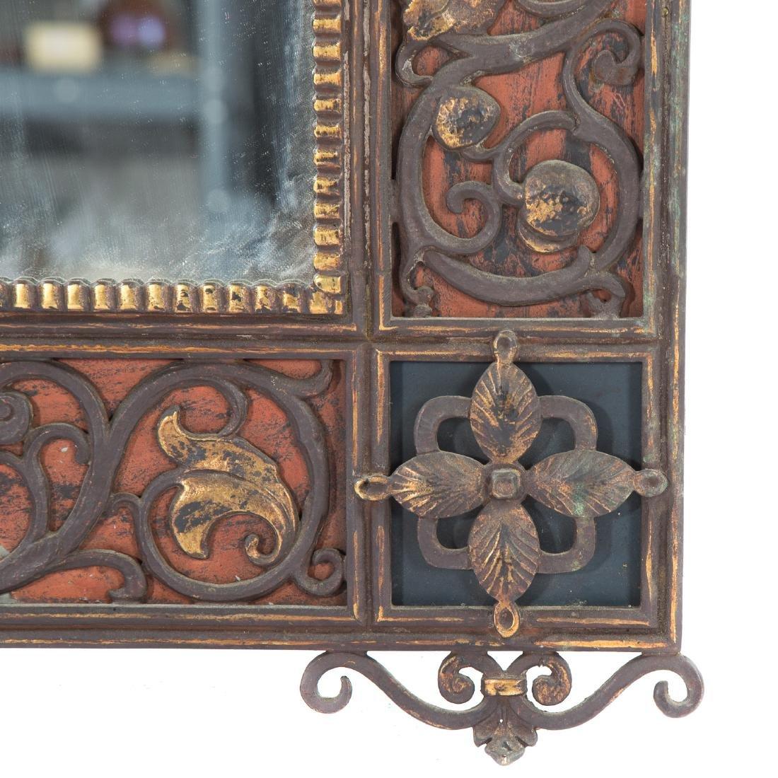 Oscar Bach, Art Deco painted bronze mirror - 4