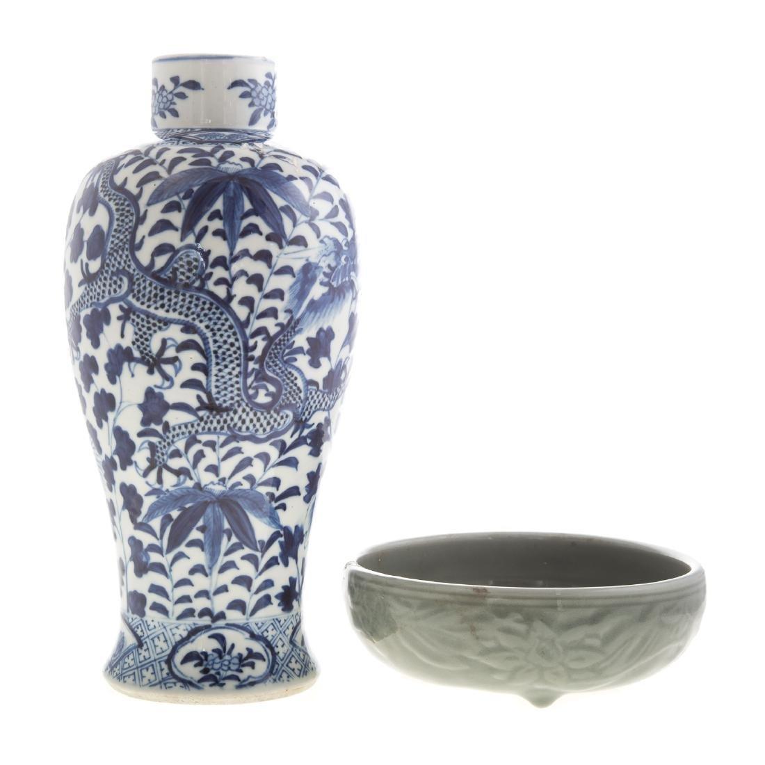 Chinese celadon bowl and blue/white jar
