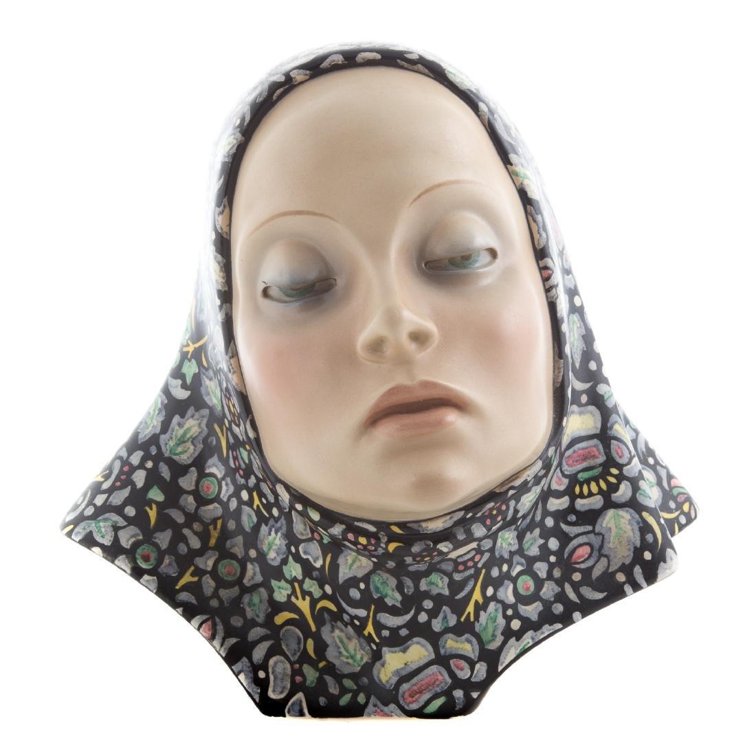 Lence glazed ceramic bust of woman