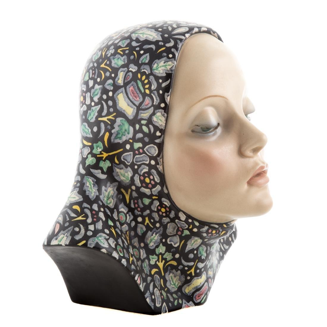 Lence glazed ceramic bust of woman - 2