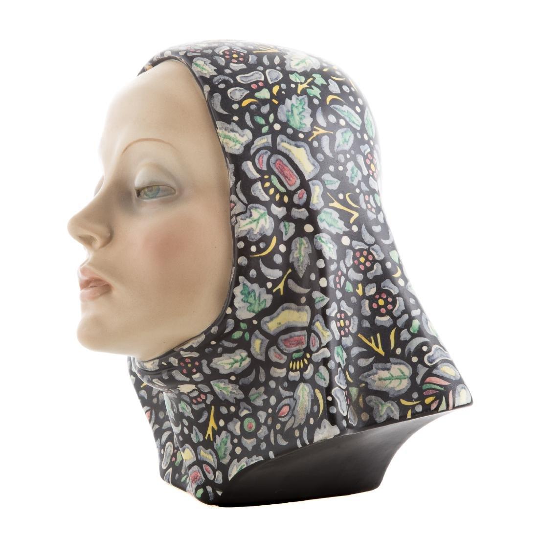 Lence glazed ceramic bust of woman - 3