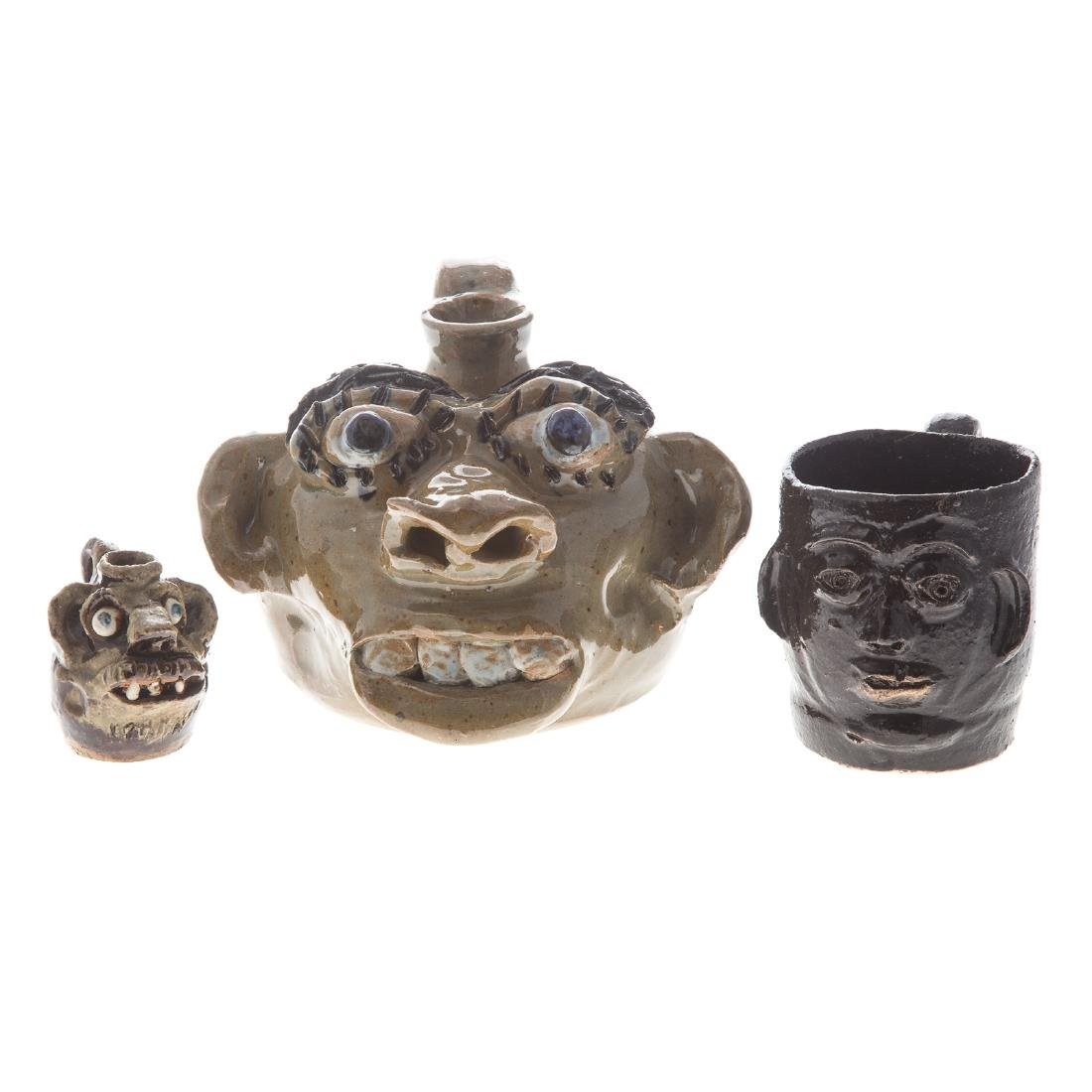 Three pieces of U.S. southern grotesque pottery