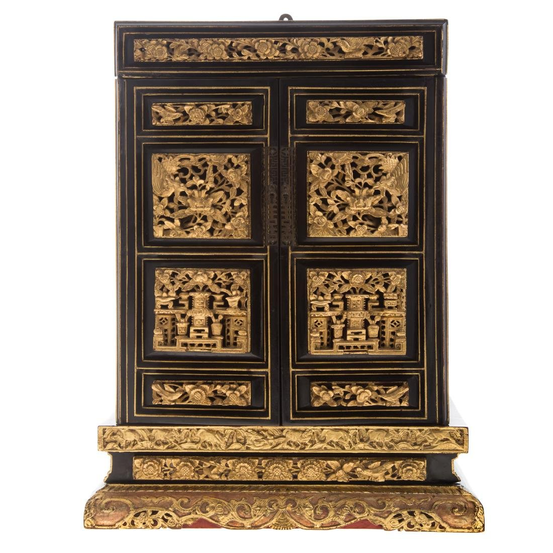 Chinese lacquer and gilt wood shrine
