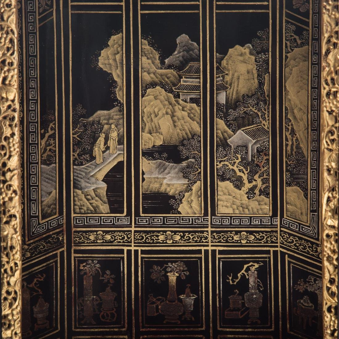 Chinese lacquer and gilt wood shrine - 7
