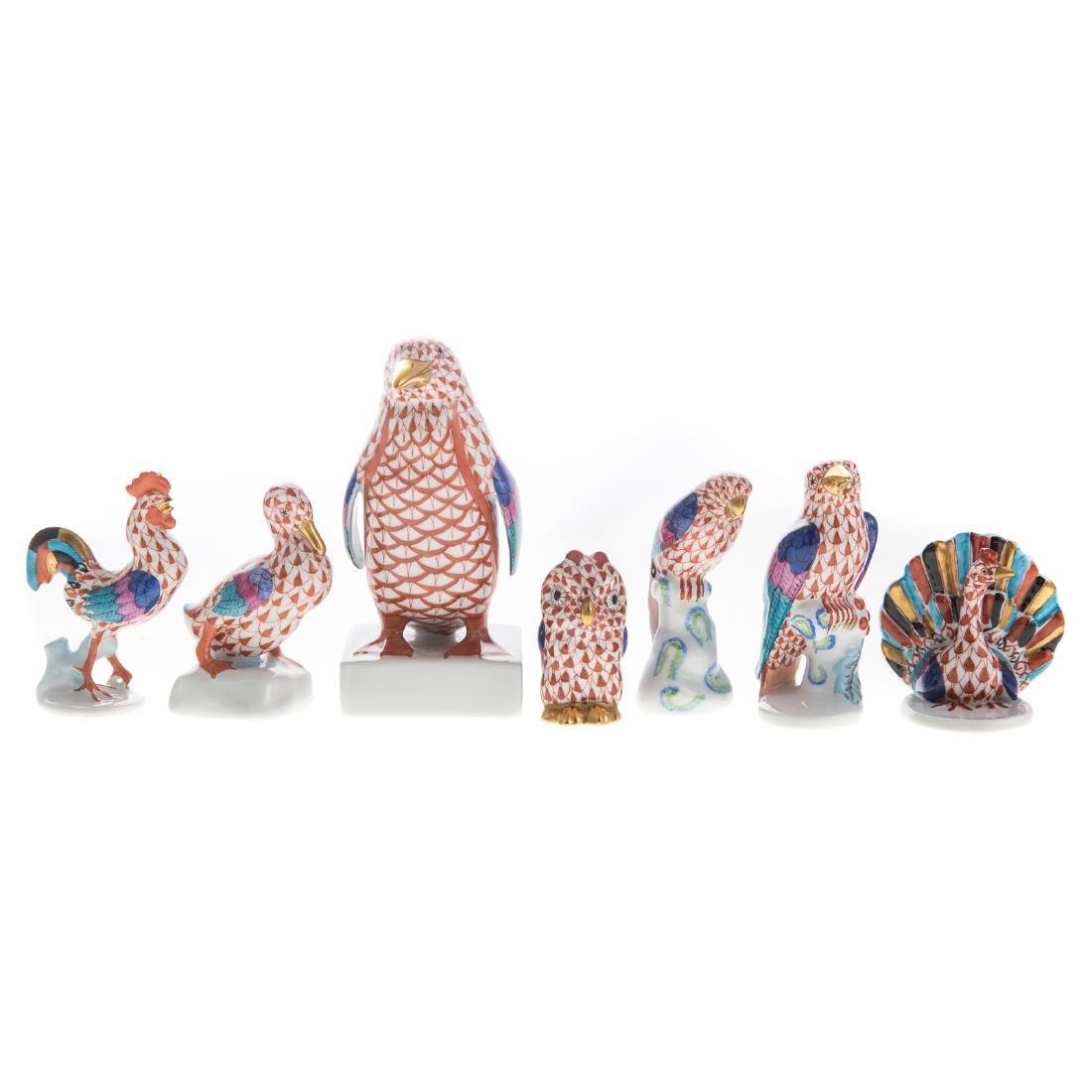 Seven Herend porcelain birds