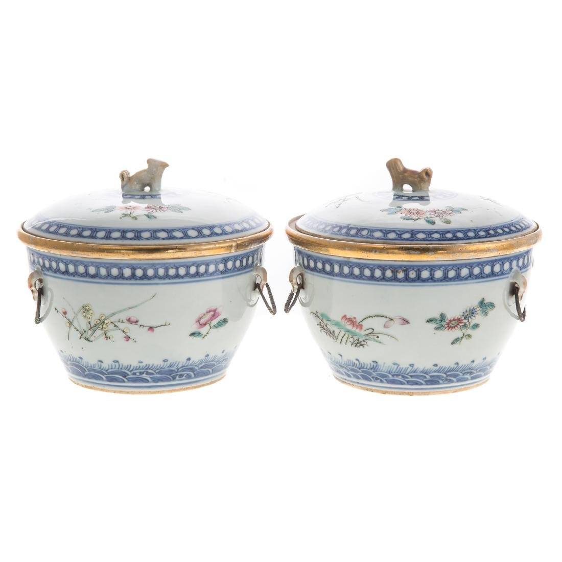 Pair Chinese Export hot water serving dishes